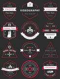 Wektorowy ustawiający odznaki fotografia i Videography Zdjęcie Royalty Free