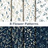 Wektorowy ustawiający osiem bezszwowych wektorowych kwiatów wzorów Zdjęcie Stock