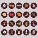 Wektorowy ustawiający ostrzegawcze etykietki dla karmowych allergens Zdjęcia Royalty Free
