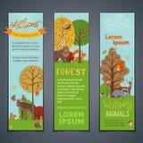 Wektorowy ustawiający pionowo lasów sztandary Obraz Stock