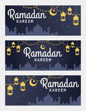 Wektorowy ustawiający Ramadan Kareem horyzontalny sztandar Fotografia Royalty Free