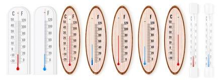 Wektorowy ustawiający realistyczni ciekli termometry z Celsius i fah zdjęcia royalty free