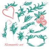 Wektorowy ustawiający roczników elementy w romantycznym stylu Zdjęcia Royalty Free