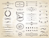 Wektorowy Ustawiający roczników Kaligraficzni elementy Zdjęcie Royalty Free