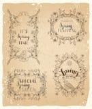 Wektorowy ustawiający rocznik wiosna obramia i ornamenty Obrazy Royalty Free