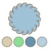 Wektorowy ustawiający round etykietki z przelotowymi dziurami i majchery ilustracji