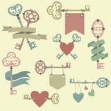 Wektorowy ustawiający z kluczami, faborkami i sercami rocznika, Zdjęcia Royalty Free