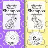 Wektorowy ustawiający bezszwowi wzory, etykietki i logo, projektujemy szablony dla naturalny szamponu pakować i opakunkowy papier Zdjęcia Stock