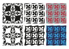 Wektorowy ustawiający bezszwowych kwiecistych wzorów czarny i biały rocznik Zdjęcie Stock
