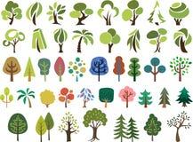 Wektorowy ustawiający drzewa w różnym stylu Zdjęcie Royalty Free