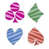 Wektorowy ustawiający karta do gry symbole Wręcza patroszone dekoracyjne kolorowe prążkowane ikony odizolowywać na tło Fotografia Stock