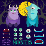 Wektorowy ustawiający kreskówka potwora charaktery Kolorowa ilustracja w mieszkanie stylu Projektuje elementy, ikony dla gier, dz Zdjęcia Royalty Free