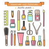 Wektorowy ustawiający manicure i pedicure'u doodle wyposażenie Zdjęcia Stock