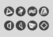 Wektorowy ustawiający niemożliwi przedmioty geometryczni kształty Zdjęcia Stock
