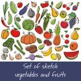 Wektorowy ustawiający owoc i warzywo Zdjęcie Stock
