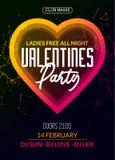 Wektorowy valentine przyjęcia plakat lub ulotka projekta szablon Walentynki powitania ilustraci partyjna noc Dyskoteka klubu tana ilustracji