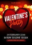 Wektorowy valentine przyjęcia plakat lub ulotka projekta szablon Walentynki powitania ilustraci partyjna noc Dyskoteka klubu tana royalty ilustracja