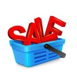Wektorowy wózek na zakupy z dużymi, dużych rozmiarów, czerwonymi listami, Zdjęcie Stock