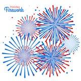 Wektorowy wakacyjny fajerwerk Dzień Niepodległości America Zdjęcia Royalty Free
