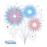 Wektorowy wakacyjny fajerwerk Dzień Niepodległości America Obraz Stock