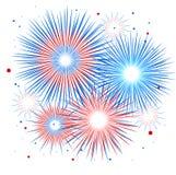 Wektorowy wakacyjny fajerwerk Dzień Niepodległości America Zdjęcia Stock