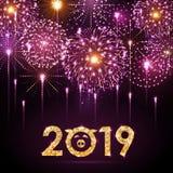 Wektorowy wakacyjny festiwal menchii fajerwerk szczęśliwego nowego roku karty ilustracji