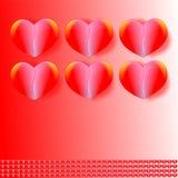 Wektorowy walentynka dnia walentynki ` s dnia tło, karta, pocztówka, zaproszenie, z sześć sercami i wzorem; wektory ilustracyjni Zdjęcia Stock
