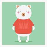 Wektorowy wektorowy śliczny szczęśliwy płaski dzikie zwierzę niedźwiedź w pomarańczowym pulowerze z bielu wzorem Fotografia Stock