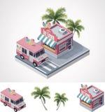 Wektorowy wektorowy sklep lody ciężarówka i royalty ilustracja