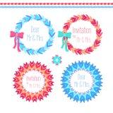 Wektorowy wianek ustawiający w błękita i menchii colores Ilustracji