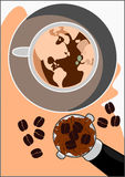 Wektorowy świat Cappuccino kawa fotografia royalty free