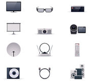 Wektorowy wideo elektroniki ikony set Obraz Royalty Free