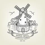Wektorowy wieś krajobraz z wiatraczkiem i pszenicznym polem Wiejski widok robić w grafika stylu, odosobnionym na tle Obraz Royalty Free
