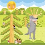 Wektorowy wilk na lesie ilustracja wektor