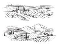 Wektorowy wioski nakreślenie, natura i ilustracji