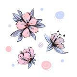 Wektorowy wiosny okwitni?cie - r??owy kwiatu set Kwiatu i p?czka ilustracje ilustracja wektor