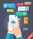 Wektorowy wiszącej ozdoby app rozwoju pojęcie Ręki trzyma mądrze telefon Obrazy Royalty Free