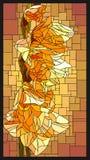 Wektorowy witrażu okno z kwitnącym żółtym gladiolusem z ilustracja wektor