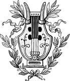 Lira z laurowymi gałązkami Zdjęcia Royalty Free