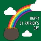 Wektorowy wizerunek dla St Patrick ` s dnia Tęcza, garnek monety, chmury, wpisowa gratulacje na wakacje styl ilustracji