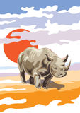 Wektorowy wizerunek kreskówek nosorożec - ilustracja Zdjęcie Stock