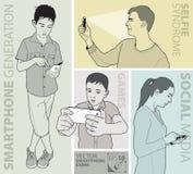 Wektorowy wizerunek ludzie używa smartphone ilustracja wektor