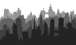 Wektorowy wizerunek miasto budynki z wiele różnymi elementami Fotografia Royalty Free