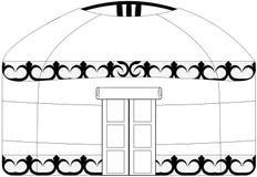 Wektorowy wizerunek na odosobnionym białym tle, ludowy mieszkanie wschodni koczowniczy zaludnia Azja - jurta ilustracja wektor
