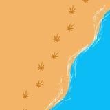 Wektorowy wizerunek nadmorski z ludzkimi krokami patrzeje jak marihuana opuszcza w abstrakta stylu ilustracja wektor