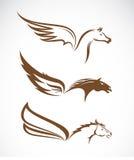 Wektorowy wizerunek Pegasus oskrzydleni konie Obrazy Stock
