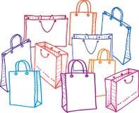 Wektorowy wizerunek set torby na zakupy Wszystko protestuje odosobnionego zdjęcie stock
