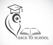 Wektorowy wizerunek sowa z szkoły wyższa książką i kapeluszem Obrazy Stock