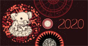 Wektorowy wizerunek szczur Symbol 2020 ilustracja wektor