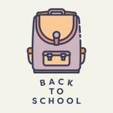 Wektorowy wizerunek szkolna torba z tekstem z powrotem szkoła Fotografia Stock